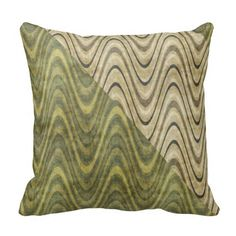Waves of Green Throw Pillows