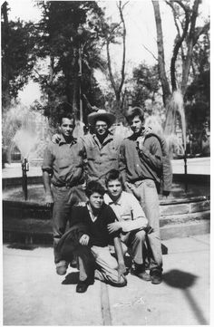 Fifties | Jack Kerouac, Allen Ginsberg, Peter Orlovsky (back), Gregory Corso and Lafcadio Orlovsky (front), Alameda Park in front of the Neptune (Poseidon) Fountain, Mexico City, 1956