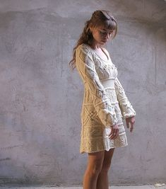 Items similar to Off-white hand knit dress tunic sweater - wedding dress - custom order on Etsy Lace Wedding Dress, Rustic Wedding Dresses, Wedding Dresses Plus Size, Princess Wedding Dresses, Colored Wedding Dresses, Modest Wedding Dresses, Wedding Gowns, Ivory Wedding, Ball Dresses