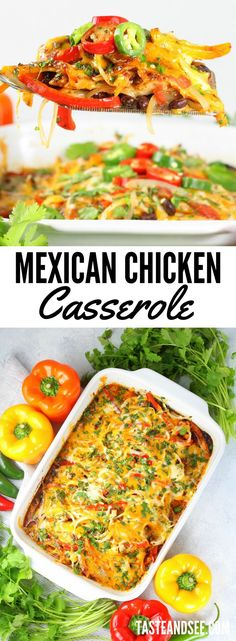 Mexican Chicken Casserole = everything you want in a weeknight recipe: quick, easy and delicious! With lean chicken, healthy veggies, and perfectly balanced zesty flavor… this one pan meal will definitely be making a regular dinner time appearance! Healthy Casserole Recipes, Slow Cooker Recipes, Cooking Recipes, Healthy Recipes, Dog Recipes, Beef Recipes, Hamburger Recipes, Potato Recipes, Casseroles Healthy