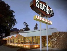 The old Sambo's restaurants, 1200 restaurants at their height, all closed as the civil rights movement emerged