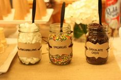 Use mason jars to hold the toppings for an ice cream sundae bar (Fun Birthday Cakes Mason Jars) Sundae Bar, Ice Cream Toppings, Ice Cream Desserts, Sundae Toppings, Dessert Bars, Dessert Table, Cool Ideas, Cool Birthday Cakes, Birthday Ideas