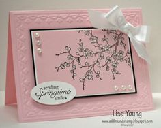 12/31/2010; Lisa Young at 'Add Ink and Stamp' blog; Easter Blossoms stamp set & Early Espresso ink stamped on Pink Pirouette cs