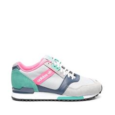 Adidas ZX 700 Contemp grey with green, pink and purple details