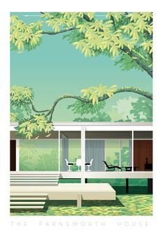 The Farnsworth house located in Illinois in the USA. A masterpiece by the architect Mies van der Rohe built between 1945 and It is … Collage Architecture, Architecture Graphics, Architecture Drawings, Architecture Portfolio, Architecture Design, Farnsworth House, Maison Farnsworth, Graphic Design Illustration, Digital Illustration