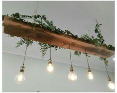 Design Salon, Salon Interior Design, Green Led Lights, Hair Salon Interior, Interior Design Software, Rustic Lighting, Edison Lighting, Vintage Lighting, Recycled Wood