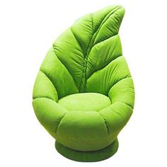 A leaf seat. perfect for a fairy room (or the girls' bedroom) Funky Furniture, Unique Furniture, Furniture Design, Chair Design, Bedroom Furniture, Furniture Box, Geometric Furniture, Wedding Furniture, Green Furniture