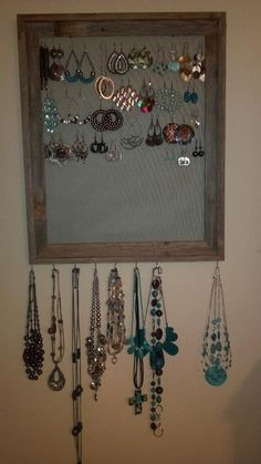 I made this earring and necklace holder from a picture frame and screen.