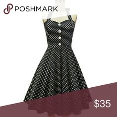 Rockabilly Retro Halter Dress A must have for any closet, black with white polka dot halter dress  with white decorative buttons down the front. Does have some stretch  Bust 42-44 Waist  34-36 Hips 44-46 Brand new retro Dresses Midi