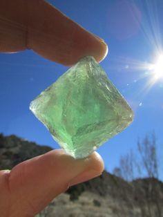 Fluorite Octahedron Raw Fluorite Crystal Green by SequoiasRoots
