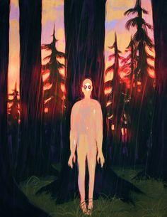 james fenner illustration / in the forest, they hide Painting Inspiration, Art Inspo, Arte Peculiar, Illustration Art, Illustrations, Psy Art, Psychedelic Art, Horror Art, Art Plastique