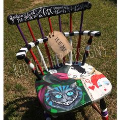 Hand painted Alice in Wonderland chair ❤️ #aliceinwonderland #disney #timburton…