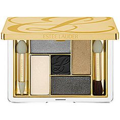 Estee Lauder Pure Color Five Color EyeShadow Palette in Film Noir - silver/ taupe khaki/ metallic gray sparkle/ white satin/ black matte center #sephora
