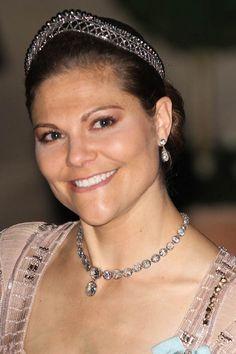 Crown Princess Victoria of Sweden wearing a unique diamond tiara.