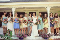 love the different bridesmaid dresses!