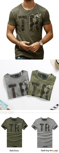 72692540e0f Summer Fashion Men s Letter Printing Slim Fit Cotton T-shirt Casual O-Neck  Wash-and-wear Tees