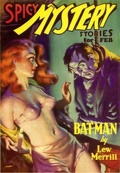 Spicy Mystery Stories pulp cover art.  dead body hanging woman dame danger