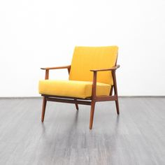 Scandinavian Teak Yellow Armchair 7