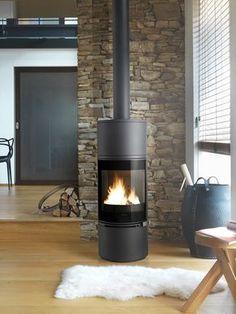 http://www.gr8fires.co.uk/invicta-alcor/?utm_source=Social&utm_medium=Social - Invicta Alcor 6kW Wood Burning Stove - Cylindrical Woodburner Log Burner, Log Burning Stoves, Wood Burning Fires, Stove Fireplace, Fireplace Design, Contemporary Wood Burning Stoves, Pellets, Wooden Flooring, Laminate Flooring