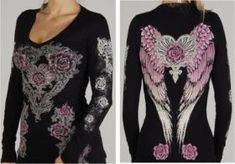 WOMENS LONG SLEEVE  ANGEL WINGS WITH TATTOO ROSES. FOR HARLEY DAVIDSON WOMEN