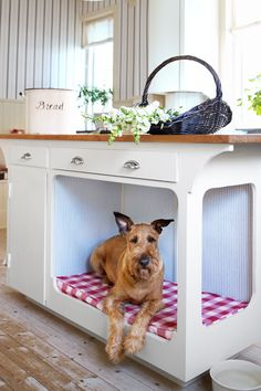 Short of doggie doors, pets are rarely factored into home design. We love this kitchen island with a built-in dog bed because it keeps Fido in the fold without having an oversize cushion eating up floor space. Built In Dog Bed, Home Renovation, Home Remodeling, Dog Nook, New Kitchen Designs, Functional Kitchen, Home Improvement Projects, Built Ins, Decoration
