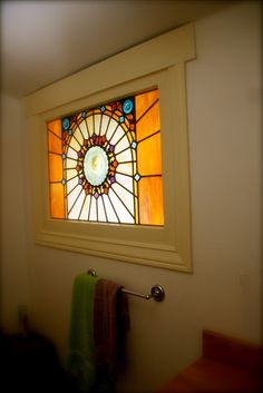 stained glass window!- since day 1, i have wanted a stained glass window in my bathroom.... someday