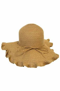 Camel Brown Floppy Hat With Scalloped Edge Wide-brim Hat 189a8a2885e6