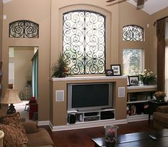 Nice Faux Wrought Iron window accents - jacksonville - Pamela Neel Interiors