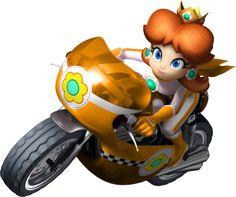 Princess Daisy on Mach Bike from Mario Kart Wii