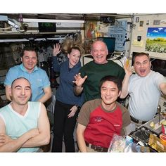 All six Expedition 48 crew members gather in the Zvezda service module sharing a light moment and a meal. From left are Flight Engineers Anatoly Ivanishin, Oleg Skripochka, Kate Rubins, Commander Jeff Williams and Flight Engineers Takuya Onishi and Alexey Ovchinin.  #nasa #jaxa #astronaut #roscosmos #cosmonaut #earth #space #outerspace #science #research #japan #america #unitedstates
