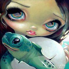Sea Turtle Mermaid fantasy fairy ocean art Jasmine Becket-Griffith CANVAS PRINT