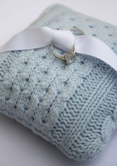 another pretty cable knit sweater ring bearer pillow for a special touch on your wedding day