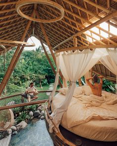 Bamboo House Design, Bamboo House Bali, Patio Design, Bali House, Bamboo Architecture, Architecture Photo, Honeymoon Suite, Honeymoon Places, Home Studio