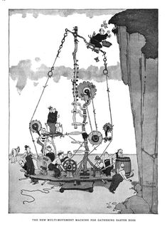 William Heath Robinson was an English cartoonist and illustrator best known for drawings of ridiculously complicated machines for achieving simple objectives. Wikipedia Born: May 31, 1872, London Borough of Islington, London, United Kingdom Died: September 13, 1944, London, United Kingdom