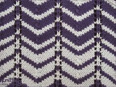 Two-color Chevron pattern is work over a multiple of 12 stitches plus 1. Easy to knit and easy to remember