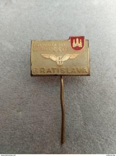 "RARE BRATISLAVA CSD  VINTAGE  60""S BADGE PIN BIG SIZE - Trademarks"