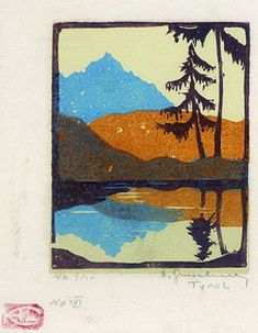 "✨ Herbert Gurschner, Austria (1901-1975) - [Reflection of Mountain - Title ?], color woodcut with artist's chop ""HC"", pencil signed and numbered. ++ Tyrol - 9/20."