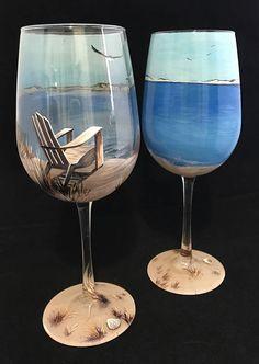 Vidrio de vino pintado a mano playa escena náutica silla de