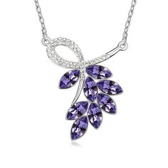 LOVER Valentine's Day Gifts Wedding Jewelry Luxury Leaves Imitation Crystal Pendant Necklace imitation Gemstones may have been treated to improve their appearance or durability and may require special care. The natural properties and composition of mined gemstones define the unique beauty of each piece. The image may show slight differences to the actual stone in color and texture. Imported Intricate high polish creates glamorous reflections and adds a luxurious look to this necklace
