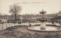 Place des Vosges - La fontaine du square vers 1900 - Paris 3ème/4ème