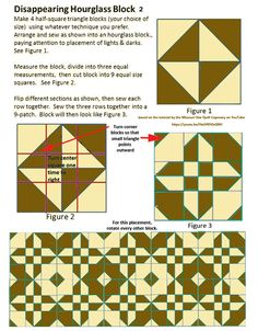 Cheat Sheet for Disappearing Hourglass 2. Based on the video at the Missouri Star Quilt Company channel on YouTube (https://youtu.be/HaUHEHJxQNU)