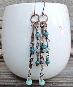 Blue Copper Stick Dangle Earrings created by Off on a Whim #jewelry #fashion #dangleEarrings #longEarrings #copperWire #blueStones #gemstones #handcrafted