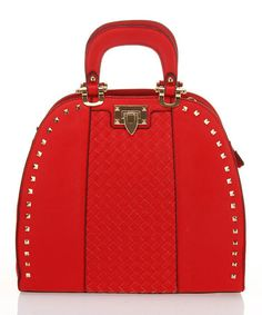 Take a look at this Red Studded Flip-Lock Tote by Segolene Paris on #zulily today!