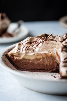 Gluten-Free Triple Chocolate Layer Pie in a Cocoa-Hazelnut Crust