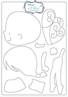 Como hacer muñecas de fieltro con moldes03 Felt Quiet Books, Needle Felting, Felt Doll Patterns, Stuffed Toys Patterns, Felt Fairy, Felt Templates, Felt Mobile, Felt Hearts, Fairy Dolls
