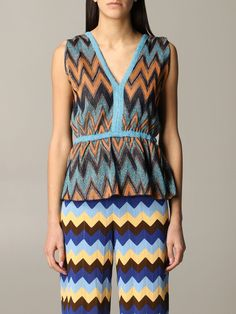 Shop M Missoni Top Top Women M Missoni and save up to EXPRESS international shipping! Top Top, Missoni, World Of Fashion, Blue Tops, Metallica, Luxury Branding, Your Style, Rompers, Clothes