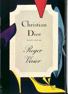 Illustration by René Gruau, Roger Vivier shoes design for Christian Dior.