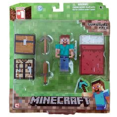 Minecraft Game Overworld Core Player Survival Kit Pack with Steve Figure Toy