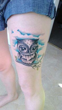 Owl tattoo...thinking something like this but with a night back ground with a moon and book