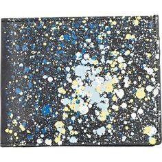Maison Margiela Men's Paint-Splattered Billfold ($430) ❤ liked on Polyvore featuring men's fashion, men's bags, men's wallets, black, mens wallets, mens front pocket wallet and mens billfolds